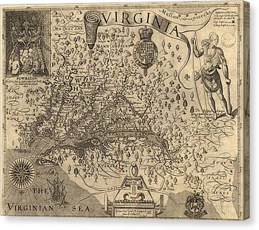 Vintage 1606 Virginia Map Canvas Print by Dan Sproul