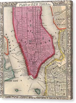 Vintage 1860 New York City Map Canvas Print by Dan Sproul