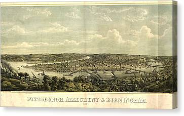 1874 Canvas Print - Vintage 1874 Pittsburgh Aerial Map by Dan Sproul