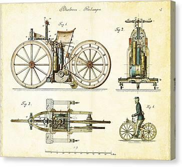 Vintage 1885 Daimler Reitwagen First Motorcycle Canvas Print by Nikki Marie Smith