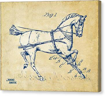 Vintage 1900 Horse Hobble Patent Artwork Canvas Print by Nikki Smith