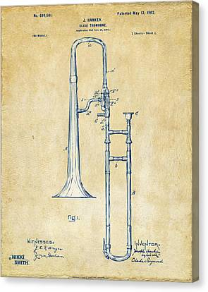 Vintage 1902 Slide Trombone Patent Artwork Canvas Print