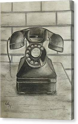 Vintage 1940's Telephone Canvas Print by Kelly Mills