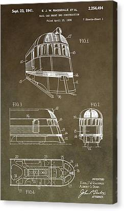 Train Crossing Canvas Print - Vintage 1941 Train Patent by Dan Sproul