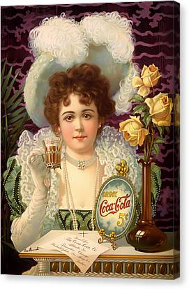 Vintage 5 Cent Coca Cola 1890 Canvas Print by Mountain Dreams