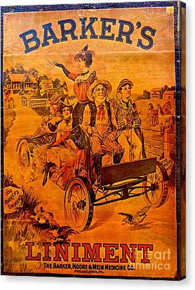 Vintage Ad Barker's Liniment Canvas Print by Saundra Myles