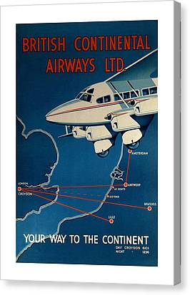Vintage Airplane Canvas Print - Vintage Airline Ad 1935 by Andrew Fare