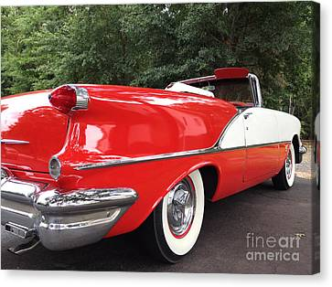 Fifties Automobile Canvas Print - Vintage American Car - Red And White 1955 Oldsmobile Convertible Classic Car by Kathy Fornal