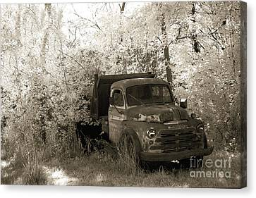 Old American Truck Canvas Print - Vintage American Dodge Truck - Abandoned Vintage American Truck Sepia Print by Kathy Fornal