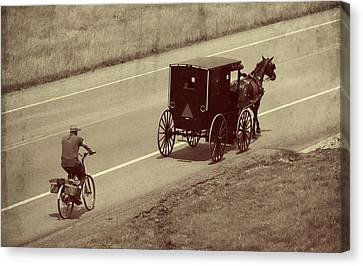 Vintage Amish Buggy And Bicycle Canvas Print by Dan Sproul