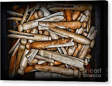 Laundry Mat Canvas Print - Vintage And Old Fashion Clothespins by Paul Ward