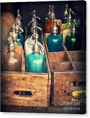 Vintage Antique Seltzer Bottles Canvas Print by Miriam Danar