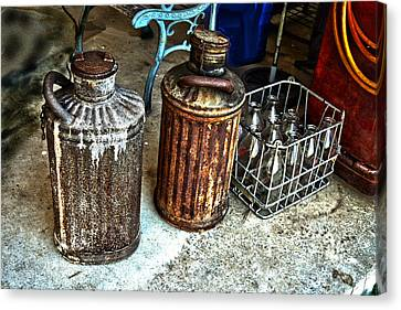 Canvas Print featuring the photograph Hdr Vintage Art  Cans And Bottles by Lesa Fine