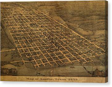 Vintage Austin Texas In 1873 City Map On Worn Canvas Canvas Print