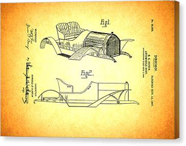 Vintage Auto Body Design Patent 1907 Canvas Print by Mountain Dreams