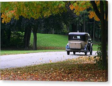 Vintage Auto On The Road Again Canvas Print by Kay Novy