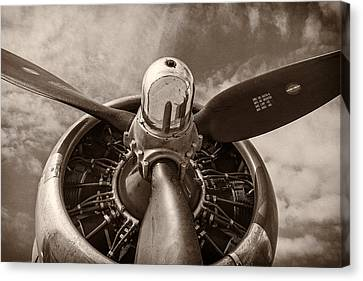 Tone Canvas Print - Vintage B-17 by Adam Romanowicz