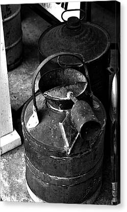 Canvas Print featuring the photograph Vintage B/w Galvanized Container by Lesa Fine