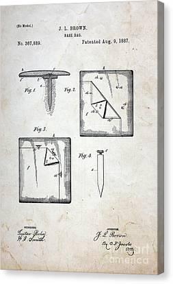 Vintage Baseball Base Patent Canvas Print by Paul Ward