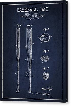 Baseball Glove Canvas Print - Vintage Baseball Bat Patent From 1939 by Aged Pixel