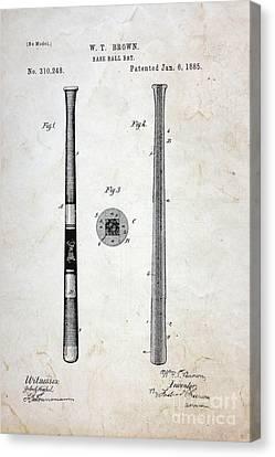 Vintage Baseball Bat Patent Canvas Print by Paul Ward