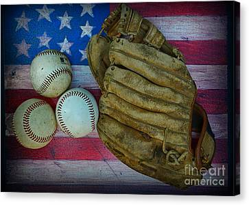 Baseball Glove Canvas Print - Vintage Baseball Glove And Baseballs On American Flag by Paul Ward