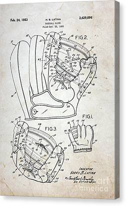 Vintage Baseball Glove Patent Canvas Print by Paul Ward