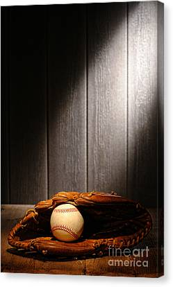 Vintage Baseball Canvas Print by Olivier Le Queinec