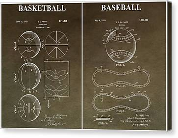 Vintage Basketball Baseball Patent Canvas Print by Dan Sproul