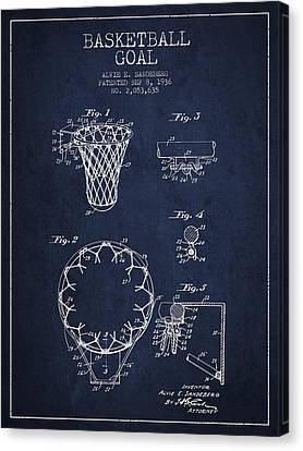 Nba Drawings Canvas Print - Vintage Basketball Goal Patent From 1936 by Aged Pixel