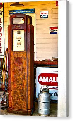 Canvas Print featuring the photograph Vintage Bassett Gas Pump   by Lesa Fine