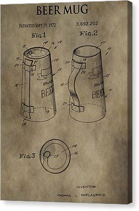Vintage Beer Mug Patent Canvas Print by Dan Sproul