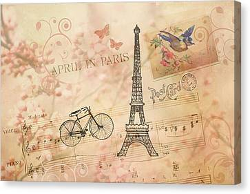 Vintage Bicycle And Eiffel Tower Canvas Print by Peggy Collins