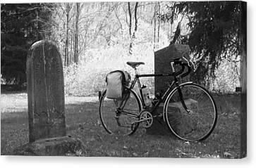 Vintage Bicycle In Graveyard Canvas Print by Joyce  Wasser