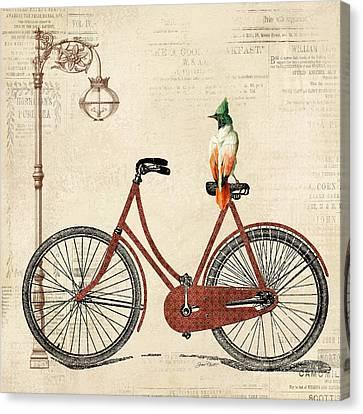 Lamp Post Canvas Print - Vintage Bike-a by Jean Plout