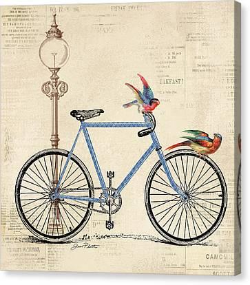 Lamp Post Canvas Print - Vintage Bike-b by Jean Plout