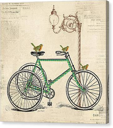 Lamp Post Canvas Print - Vintage Bike-c by Jean Plout