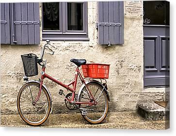 Vintage Bike Outside A Shuttered Window Canvas Print by Georgia Fowler
