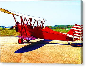 Vintage Biplane - 7d15525 - Color Sketch Style Canvas Print by Wingsdomain Art and Photography