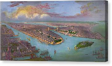 Vintage Bird's Eye View Of New York City - Circa 1885 Canvas Print by Blue Monocle