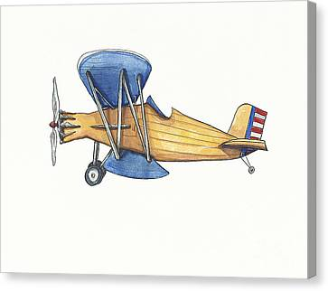 Vintage Blue And Yellow Airplane Canvas Print by Annie Laurie