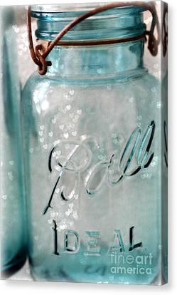 Mason Jars Canvas Print - Vintage Blue Aqua Ball Jars - Mason Jars Ball Jars Photography - Shabby Chic Ball Jar With Hearts by Kathy Fornal