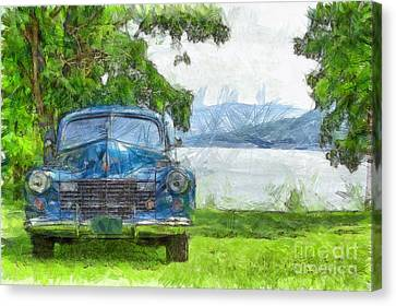 Vintage Blue Caddy At Lake George New York Canvas Print by Edward Fielding