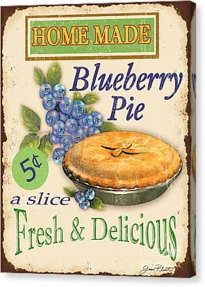 Vintage Blueberry Pie Sign Canvas Print