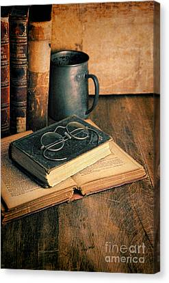 Vintage Books And Eyeglasses Canvas Print by Jill Battaglia