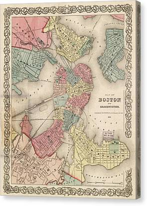 Vintage Boston Map 2 Canvas Print