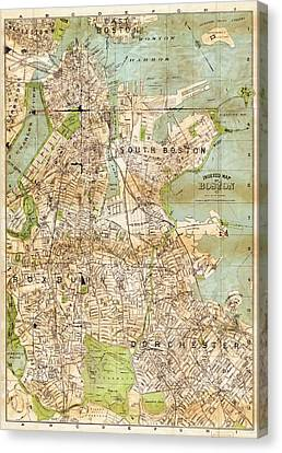 Vintage Boston Map  Canvas Print by Joann Vitali