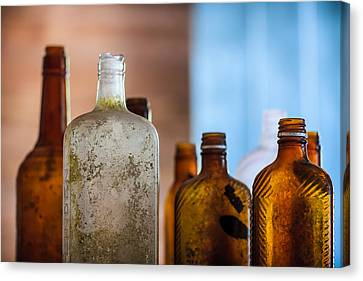 Flask Canvas Print - Vintage Bottles by Adam Romanowicz