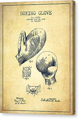 Vintage Boxing Glove Patent Drawing From 1894 - Vintage Canvas Print by Aged Pixel