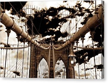 Unique Structure Canvas Print - Vintage Brooklyn Bridge by John Rizzuto